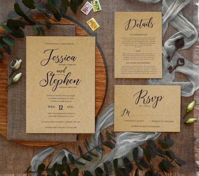 Bethany wedding invitation set