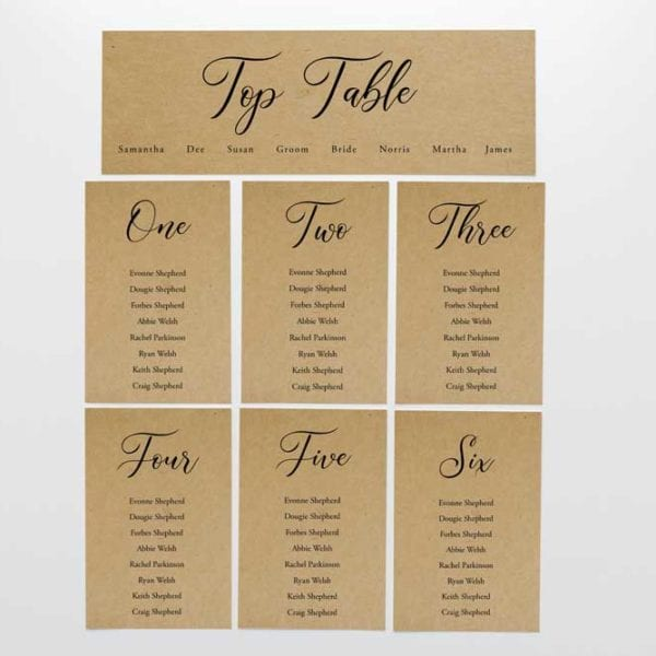 Bethany table plan cards