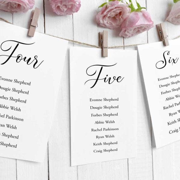 Annabelle table plan cards