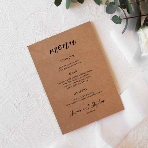 Bethany Menu Card A5