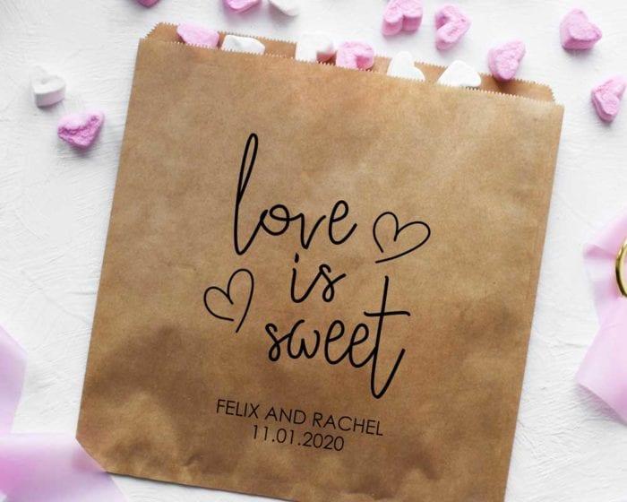 love is sweet kraft bags