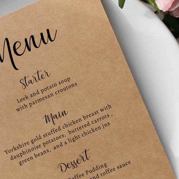 Matilda Wedding Menu Card