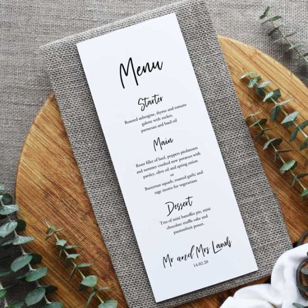Sophia Menu Card