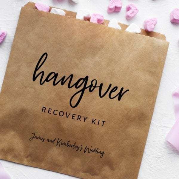 hangover kit bag unique wedding favour idea
