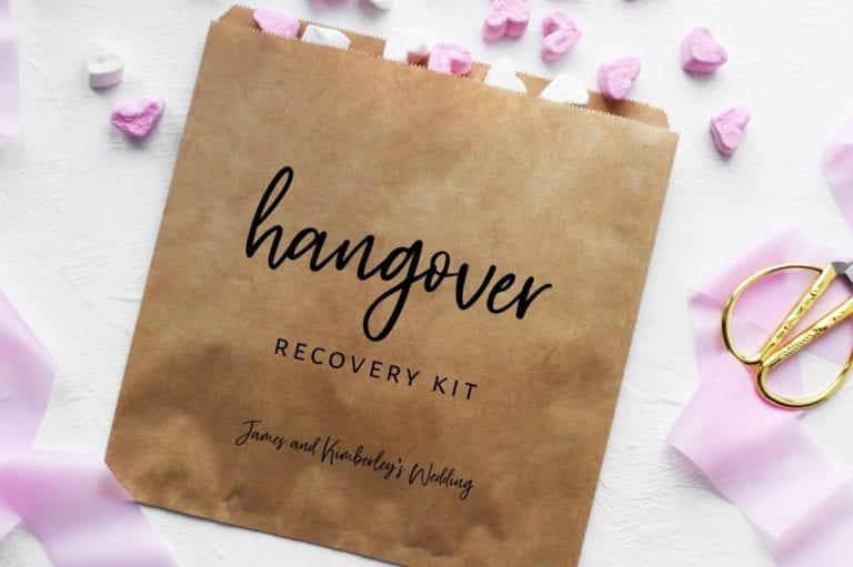 hangover kit bag unique wedding favour idea