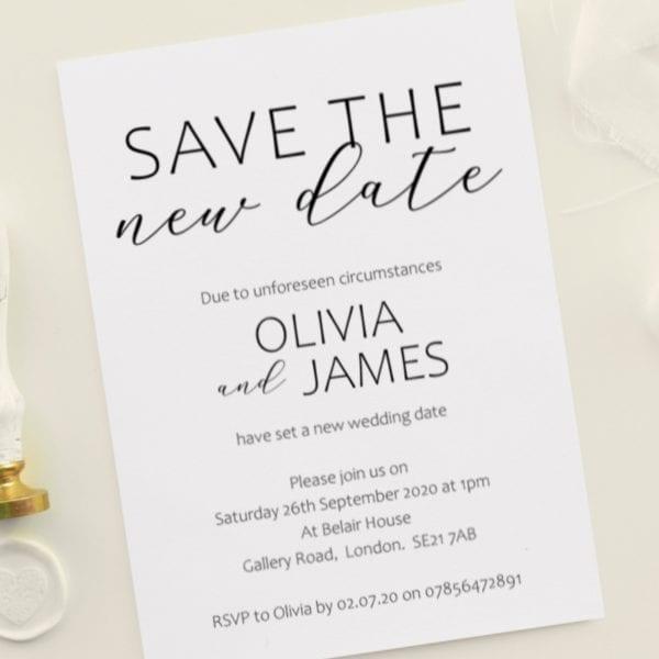 save the new date postponed rearranged weddings