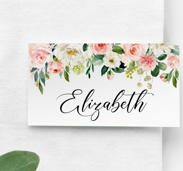 blush name place cards