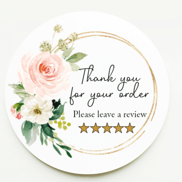 Blush Pink Floral Leave a Review Stickers