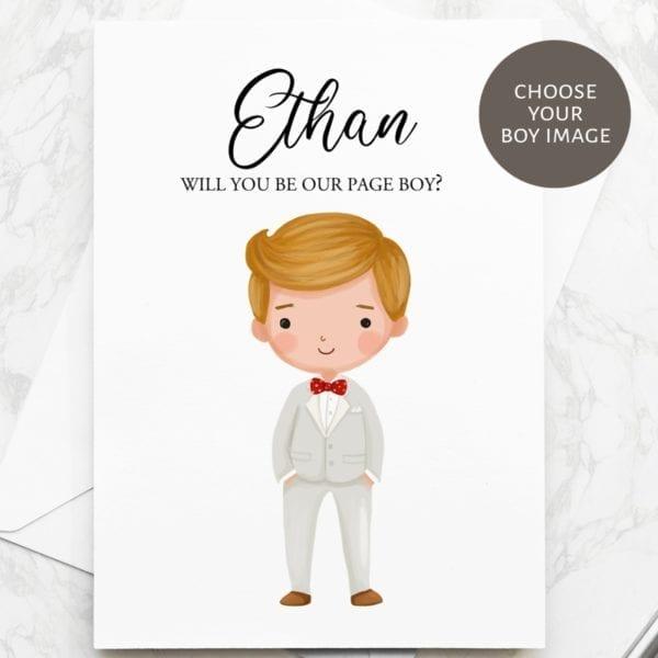 page boy proposal card