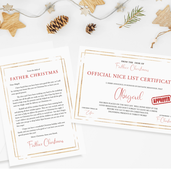 Personalised Father Christmas Bundle - Letter & Nice Certificate
