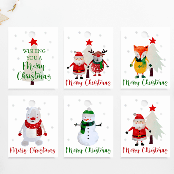 Christmas Festive Tags Pack of 6