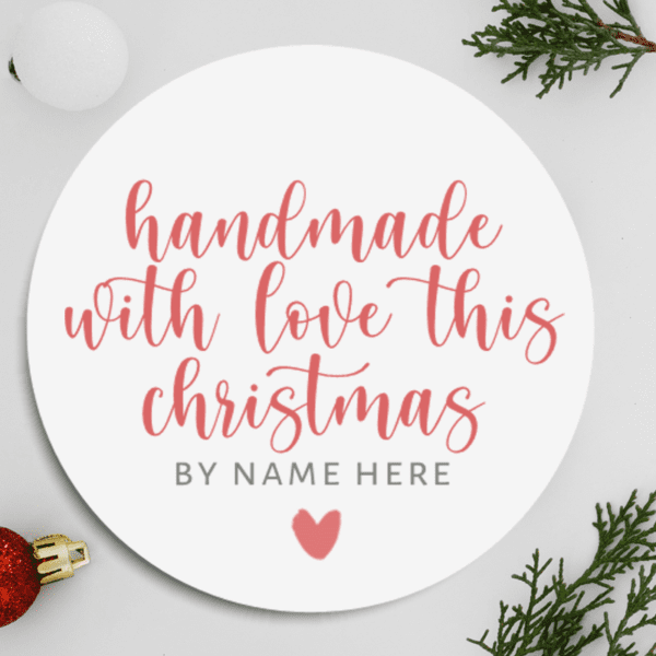 Personalised Handmade With Love at Christmas Stickers