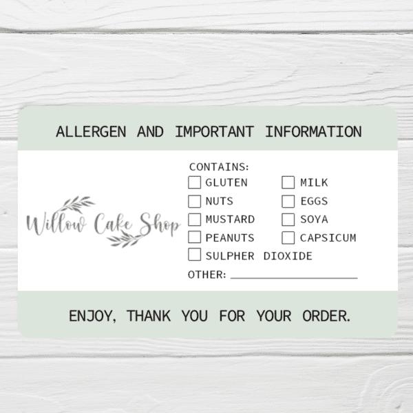 logo allergen labels personalised