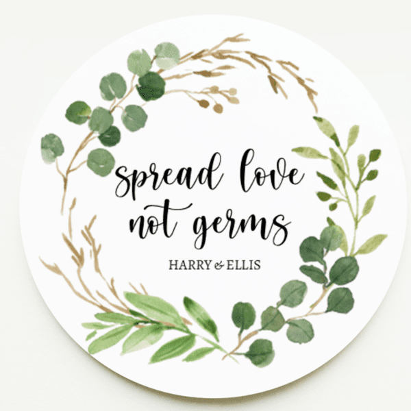 Wreath Spread Love Not Germs Stickers
