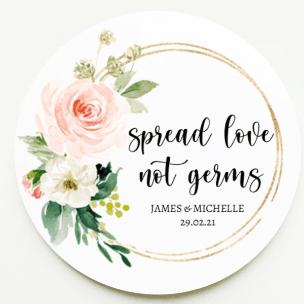 Blush Pink spread love not germs stickers