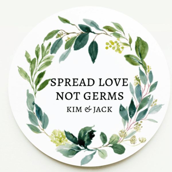 Foliage Wreath Wedding Hand Sanitizer Stickers
