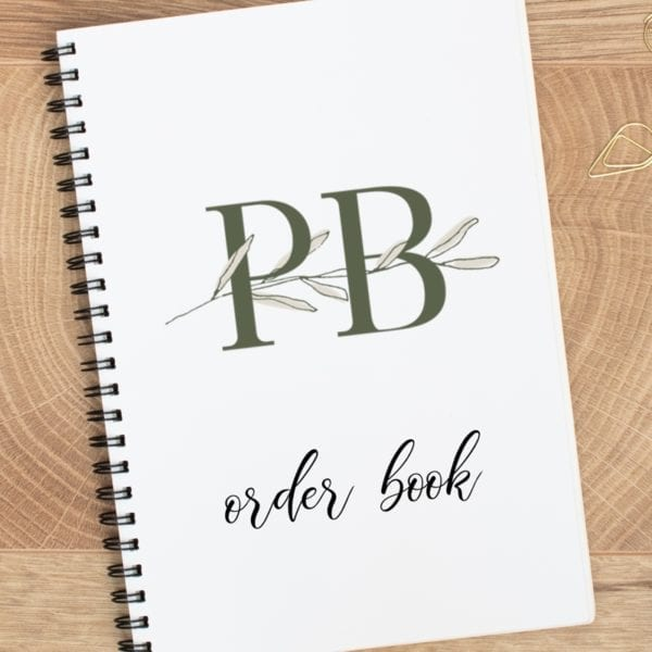 A5 small business logo order book